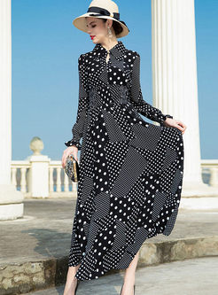 Vintage Lapel Polka Dot Chiffon Maxi Dress