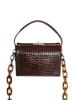 Vintage Alligator Pattern Clasp Lock Crossbody Bag