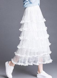 Stylish Elastic Waist Gauze Cake Skirt