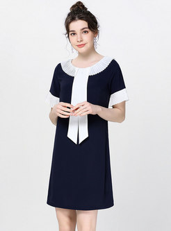 Color-blocked Turn Down Collar Tie Shift Dress
