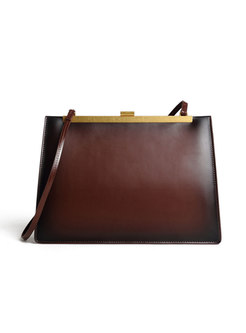 Vintage Cowhide Leather Clasp Lock Shoulder Bag