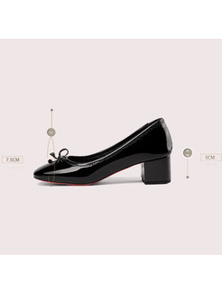 All-matched Bowknot Squre Toe Chunky Heel Shoes