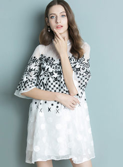 Fashion Mesh Embroidered Flare Sleeve Dress