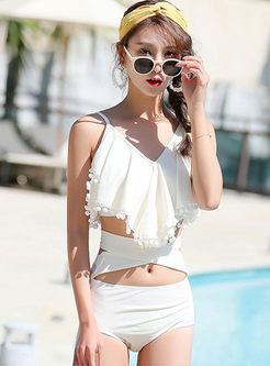 Sexy V-neck Lace Three Piece Swimwear