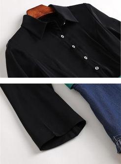 Three Quarters Sleeve Splicing Print Dress