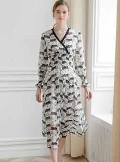 Trendy Print V-neck Flouncing Maxi Dress
