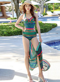 Print Halter Neck Tied Cover-up Swimwear
