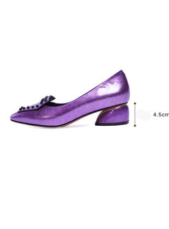 Women Spring/fall Pointed Toe Chunky Heel Leather Shoes