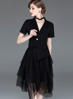 Notched Short Sleeve Top & Mesh A Line Skirt