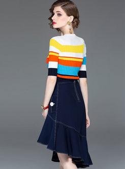 O-neck Slim Top & Asymmetric Falbala Skirt