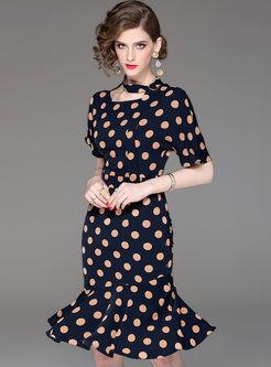 O-neck Polka Dot Slim Mermaid Dress