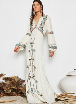 Chic Embroidered Lantern Sleeve V-neck Maxi Dress