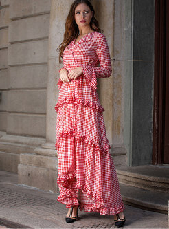 Plaid Flare Sleeve Tie-waist Hem Maxi Dress