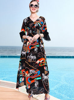 Chic V-neck Flare Half Sleeve Slit Dress