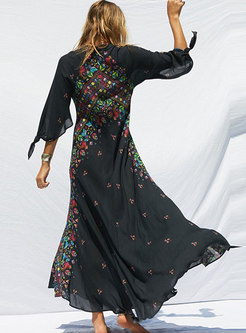 Black Deep V-neck Print Maxi Dress