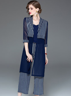 Stylish Splicing Striped Tank & Coat & Wide Leg Pants