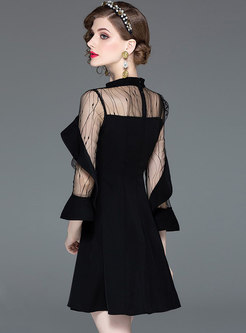 Sexy Gauze Patchwork High Waist Black Skater Dress