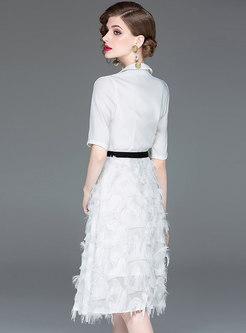 Chic Tassel White Lapel Half Sleeve Skater Dress