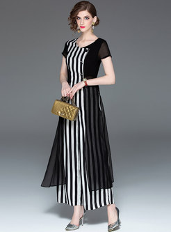 Fashion Striped Splicing Coat & Wide Leg Pants