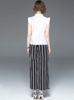 Solid Color Falbala Top & Striped Wide Leg Pants