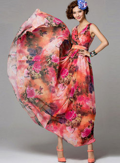 Bohemia Print V-neck High Waist Hem Maxi Dress