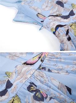 Butterfly Print O-neck Gathered Waist Hem Maxi Dress