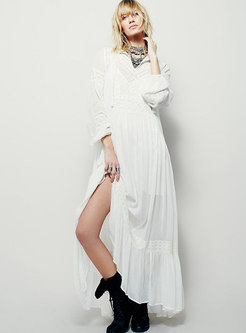 Bohemia Embroidered Tie-collar Loose Maxi Dress