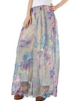 Stylish Chiffon Print Elastic Waist Wide Leg Pants