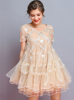 Apricot Embroidered Mesh Splicing Mini Dress