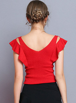 Solid Color Backless Flouncing Sleeveless Top