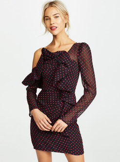 Sexy Polka Dots Off Shoulder Backless Bodycon Dress