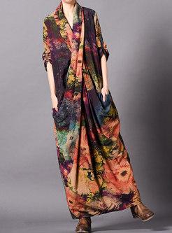 Vintage Print Cross V-neck Loose Maxi Dress