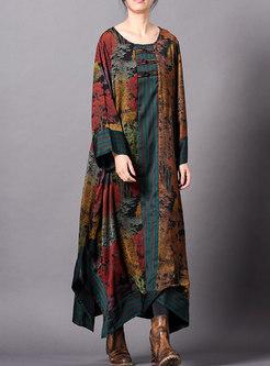 Retro Print O-neck Side-slit Asymmetric Loose Dress