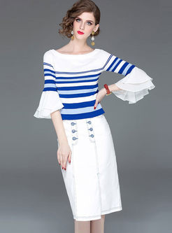 Slash Neck Flare Sleeve Top & Slim Bodycon Skirt
