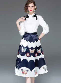 Vintage Long Sleeve T-shirt & Print Skirt