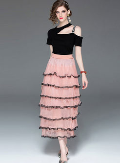 Stylish Short Sleeve Top & High Waist Skirt