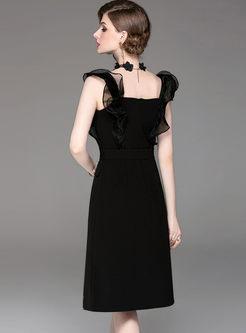 8e4936dbcfb35 Black Sexy Square Neck Sleeveless Dress Black Sexy Square Neck Sleeveless  Dress ...