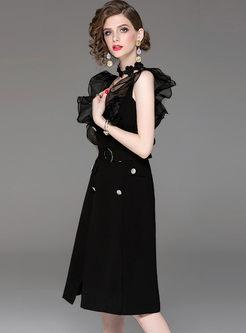 3e6b5cc133a59 ... Black Sexy Square Neck Sleeveless Dress ...
