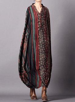 Vintage Print V-neck Loose Maxi Dress