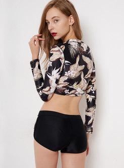 Trendy Print Stand Collar Long Sleeve Tankini