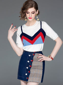 O-neck Color-blocked Top & Patchwork Mini Skirt