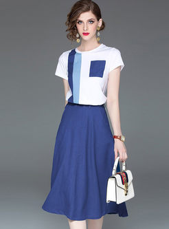 Casual O-neck Color-blocked Two Piece Outfits