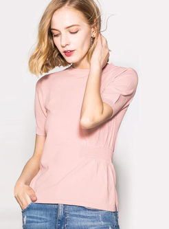 Fashion Short Sleeve Solid Color T-shirt