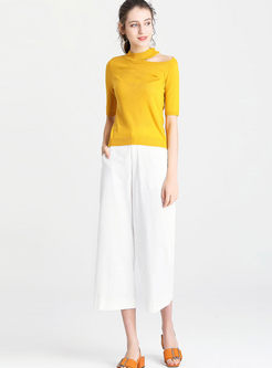 Standing Collar Solid Color Knitted Top