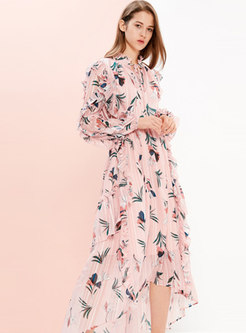 Sweet Print Tie-collar Asymmetric Falbala Dress