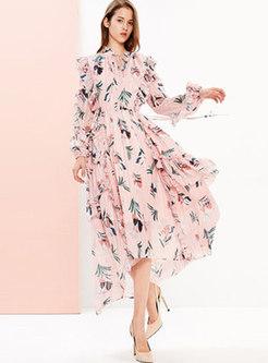 Sweet Print Tie-collar Asymmetric Falbala Dress