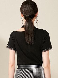 Chic Black Mesh Splicing Off Shoulder T-shirt