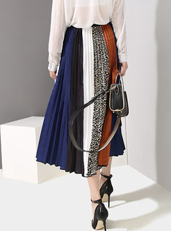 Stylish Multicolor Splicing Color-blocked Pleated Skirt