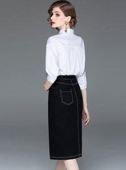 Casual Lapel Letter Print & Denim Slit Skirt