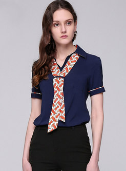 Chic Navy Print Splicing Short Sleeve Blouse